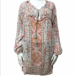 Angie Plus Size Mixed Pattern Peasant Style Blouse